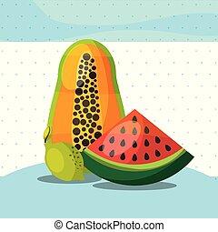 fruits fresh organic healthy watermelon papaya lemon