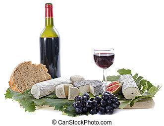 fruits, goat, quesos, vino