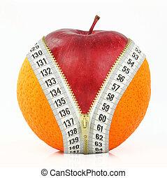 fruits, graisse, contre, régime