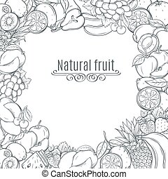 Fruits hand drawn  frame.