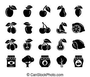 fruits. harvesting. fruit trees. set of black icons