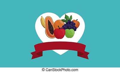 Fruits healthy food HD animation - Fruits healthy food in...