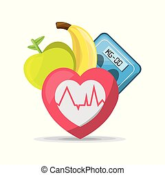 fruits, heartbeat and weighing mashine, vector illustration...