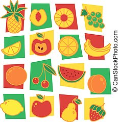 Fruits icons isolated on white background