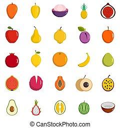 Fruits icons set, flat style