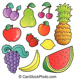 Fruits images collection - vector illustration.