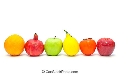 fruits in a row on a white background