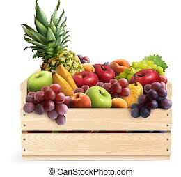 Fruits In Box Realistic Composition