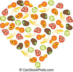 fruits in heart