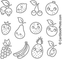 fruits in kawaii style