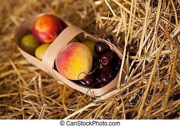Fruits in the basket - Some fruits in the basket on straw
