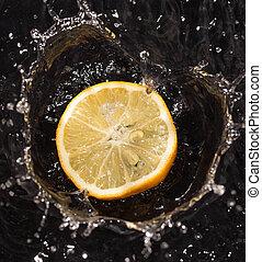 fruits in water lemon strawberry kiwi