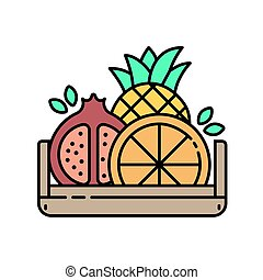 Fruits in wooden box - modern line icon