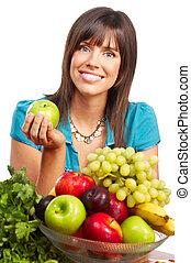 fruits, jus, légumes, femme