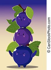 fruits kawaii funny face happiness cute grapes with leaf