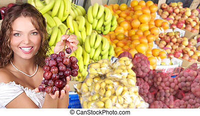 fruits, légumes, femme
