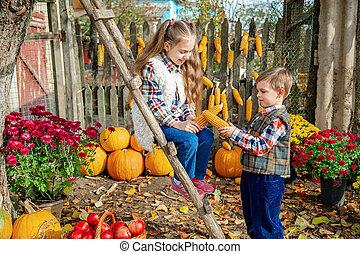 fruits, légumes, ferme, mûre, cueillir, autumn., enfants
