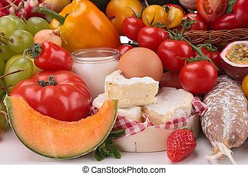 fruits, légumes, fromage, composition, saucisses