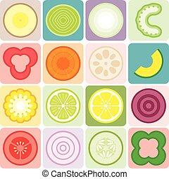 fruits, légumes, vecteur, icônes