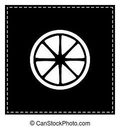 Fruits lemon sign. Black patch on white background. Isolated.