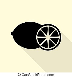 Fruits lemon sign. Flat style black icon on white.