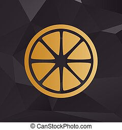 Fruits lemon sign. Golden style on background with polygons.