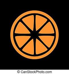 Fruits lemon sign. Orange icon on black background. Old phosphor monitor. CRT.