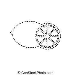 Fruits lemon sign. Vector. Black dashed icon on white background. Isolated.