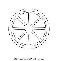 Fruits lemon sign. Vector. Black dotted icon on white background. Isolated.