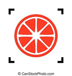 Fruits lemon sign. Vector. Red icon inside black focus corners on white background. Isolated.