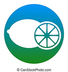 Fruits lemon sign. Vector. White icon in bluish circle on white background. Isolated.