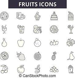 Fruits line icons, signs set, vector. Fruits outline concept, illustration: strawberry, orange, food, watermelon, lemon, pear, banana, apple