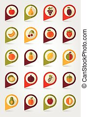 Fruits mapping pins icons with long