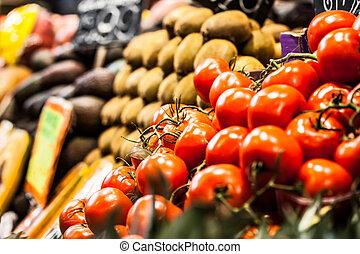 Fruits market, in La Boqueria, Barcelona famous marketplace