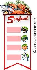 fruits mer, bannière, gabarit, fond