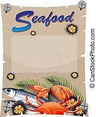 fruits mer, bannière, gabarit