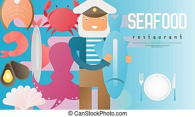 fruits mer, bannière, restaurant