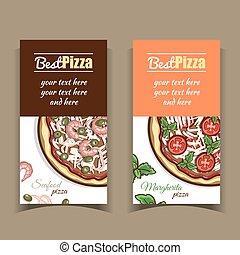 fruits mer, bannières, pizza margherita