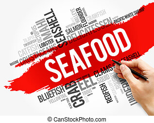 fruits mer, concept, nourriture, collage, mot, nuage
