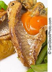 fruits mer, dorade, haricots, francais, rôti