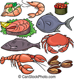 fruits mer, ensemble, icônes