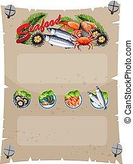 fruits mer frais, bannière, gabarit