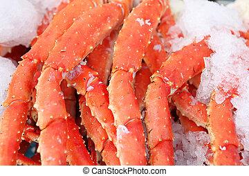 fruits mer frais, jambes, marché, crabe