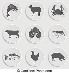 fruits mer, icônes, ensemble, -animal, viande