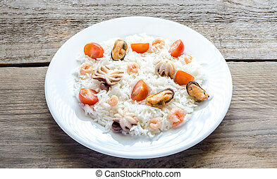 fruits mer, riz, basmati