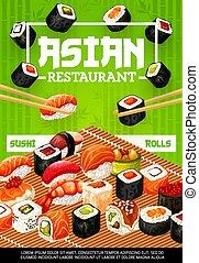 fruits mer, sushi, japonaise, nigiri, rouleaux