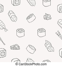 fruits mer, sushi, pattern., seamless, japonaise, rouleaux
