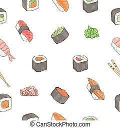 fruits mer, sushi, pattern., seamless, japonaise, traditionnel, nourriture., rouleaux