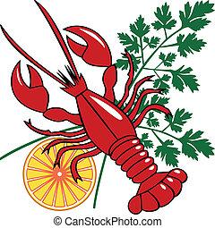 fruits mer, vecteur, dîner