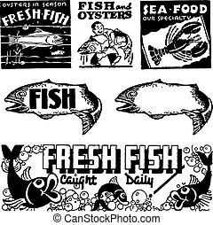 fruits mer, vecteur, retro, graphiques